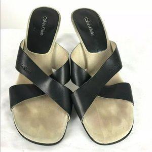 Calvin Klein Criss Cross Leather Strap Sandals 7.5